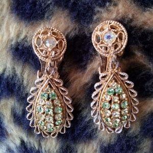 1960s Rhinestone Earrings Clip On Dangle